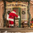 Santa Claus coming to children at Christmas time