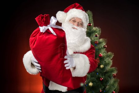 Happy Santa Claus showing big sack