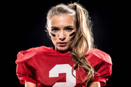 Attractive female american football player