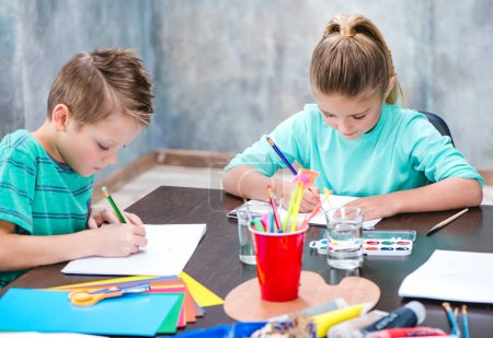 Cute children drawing