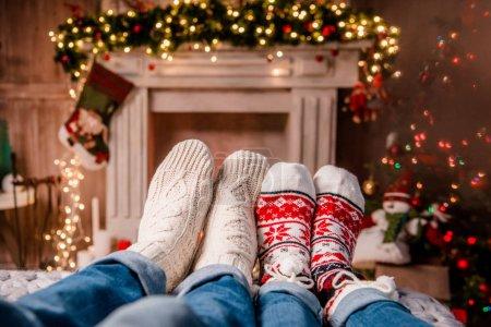 Legs in warm socks