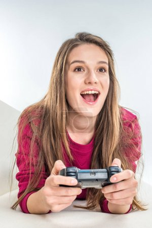 Woman playing with joystick