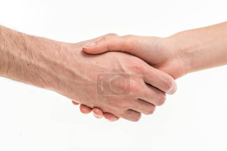 Male and female hands handshaking