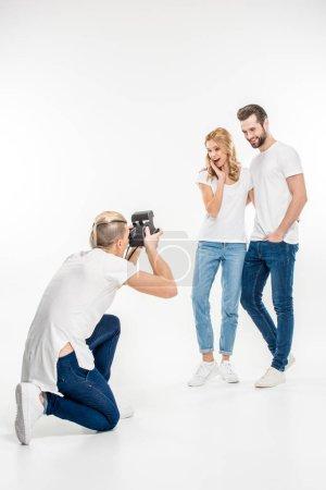 Friends making photos