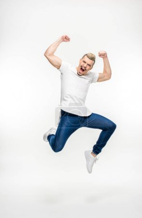 Exited man jumping