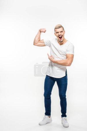 Man showing bicep