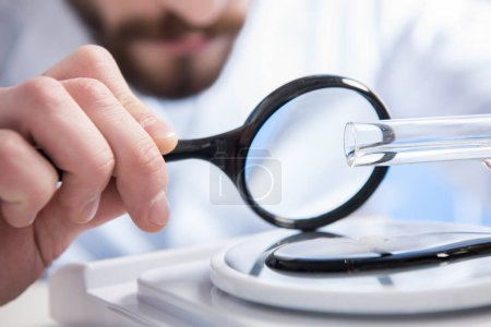 Sample throungh magnifying glass