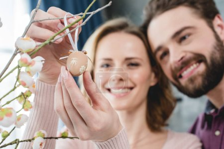 Couple with easter decoration
