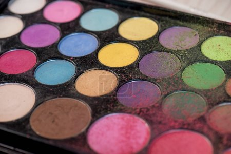 Palette of colorful eyeshadows