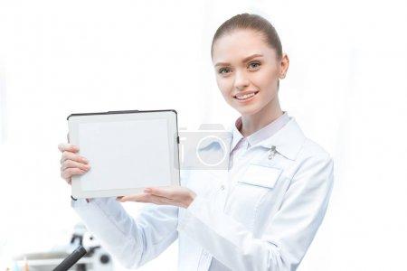 Scientist showing digital tablet