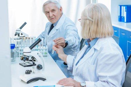Senior chemists with test tube