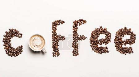 Word coffee from coffee beans