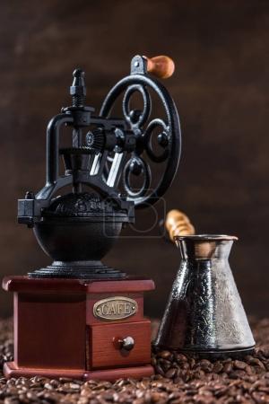 Turkish coffee pot and coffee mill