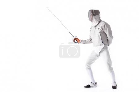 Young man fencing