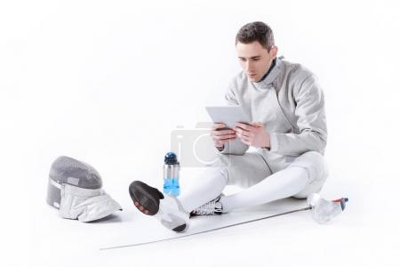 Fencer using digital tablet