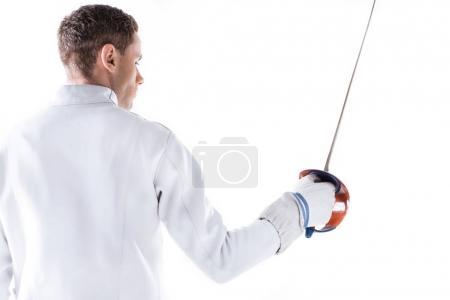 Fencer holding rapier