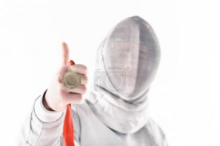 Professional fencer with medal