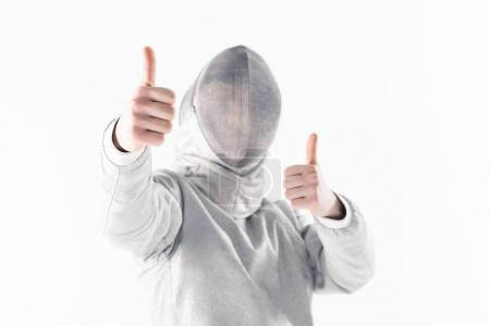 Professional fencer with thumbs up