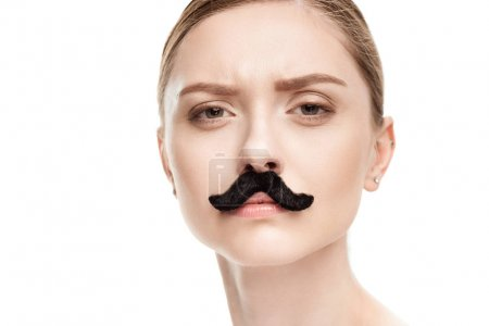 Woman with black mustaches