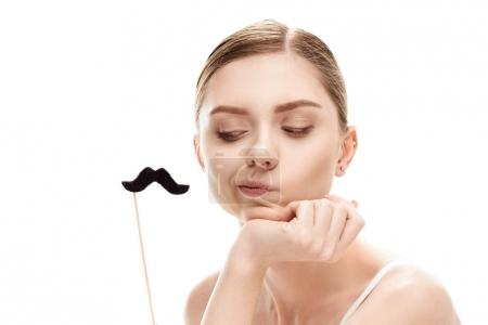 Woman with black mustaches on stick