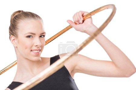 Rhythmic gymnast with hoop