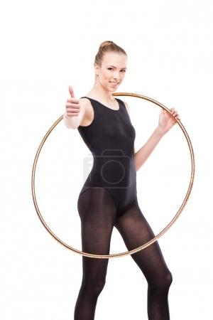 Rhythmic gymnast with hoop