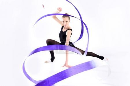 Rhythmic gymnast with ribbon
