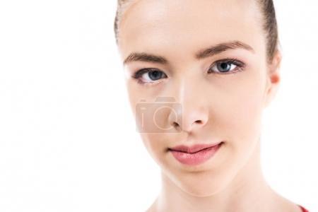 Young caucasian woman looking at camera