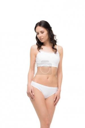 Woman posing in white underwear