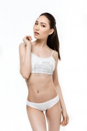 Asian girl in white underwear
