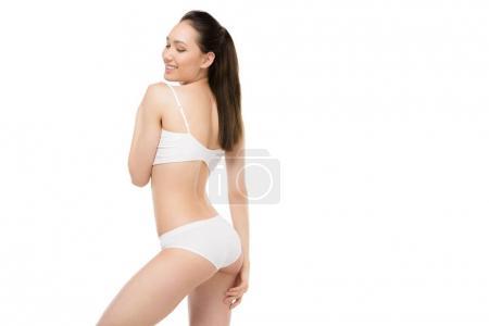 Asian girl in white underwear