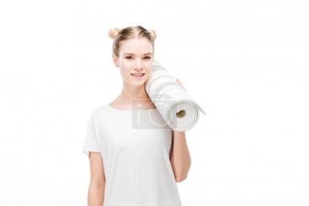 Girl holding yoga mat