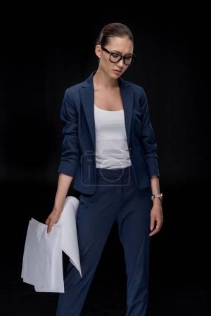 Young businesswoman in eyeglasses
