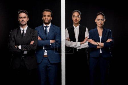 Businessmen separated with businesswomen