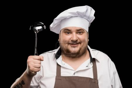 Professional chef with scoop