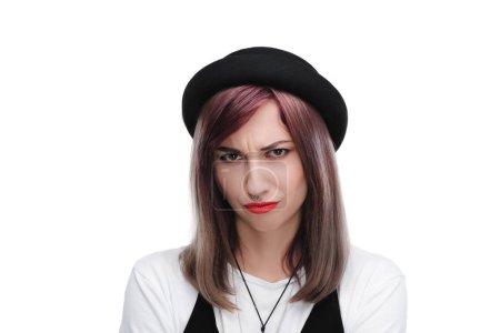 Offended girl in black hat