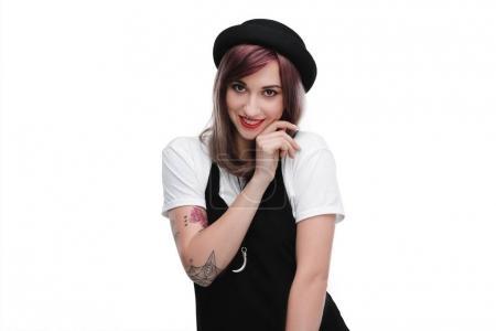 Tattooed shy girl