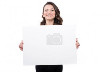 Woman with blank banner