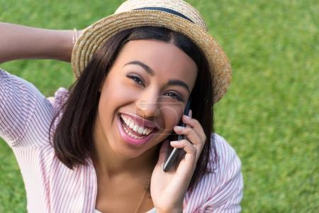 African american girl using smartphone