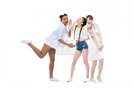 Multiethnic girls laughing together
