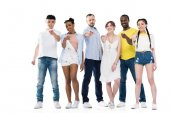 Multiethnic people pointing at camera