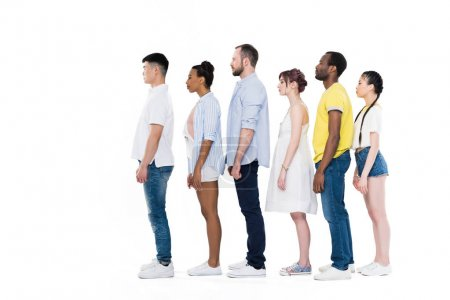 Multiethnic people standing in row
