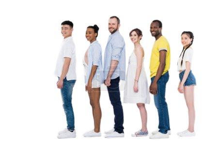 Multiethnic people standing in row