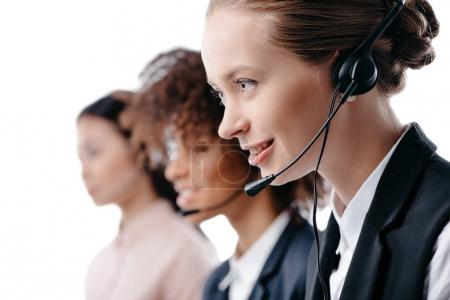 Operators working with headset