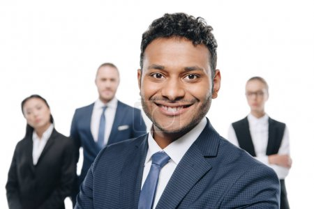 african american businessman with colleagues