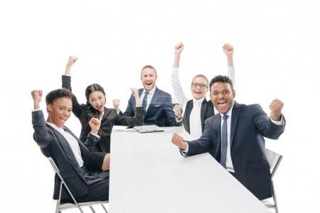 Multiethnic businesspeople celebrating success