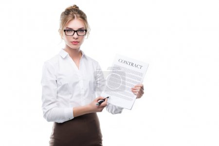 Confident businesswoman with contract