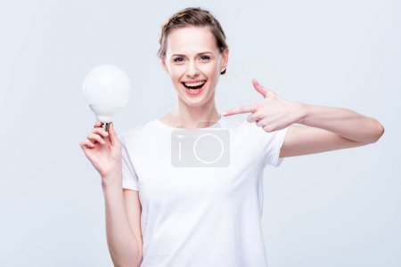 Woman pointing at light bulb