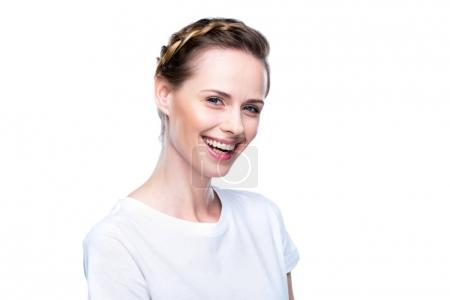 smiling woman in white t-shirt