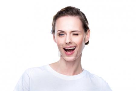 Beautiful winking woman